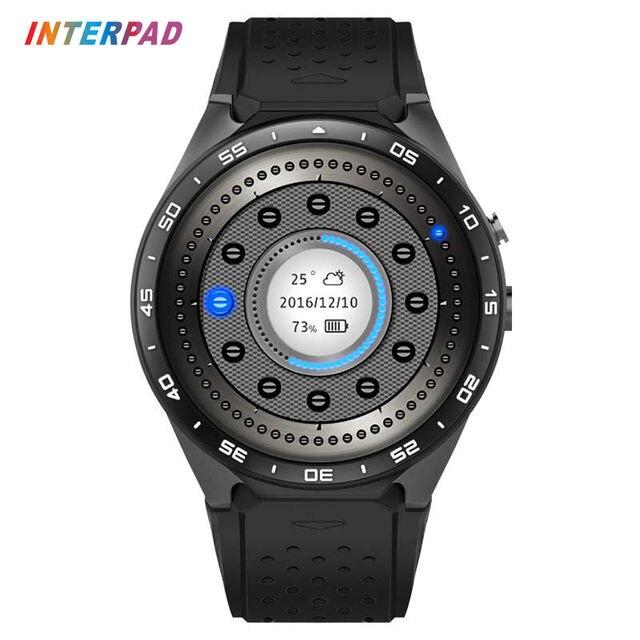 Interpad KW88 Смарт часы 1.39 дюймов MTK6580 Quad Core 1.3 ГГц Android 5.1 3 г SmartWatch 400 мАч 2.0 мега Pixel монитор сердечного ритма