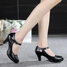 2018 Весна Женская кожаная обувь на толстом высоком каблуке рабочая обувь Мода Круглый Черная кожа обувь