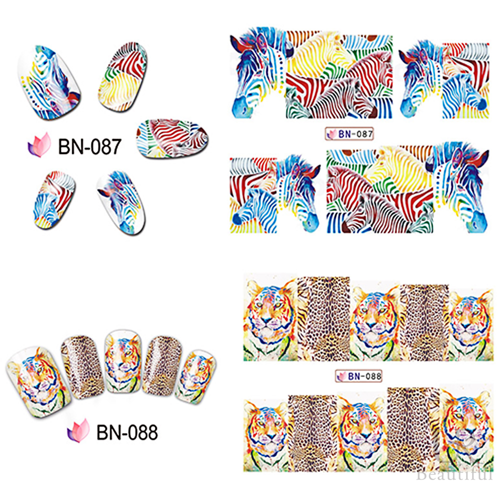Image 3 - 12 Designs In 1 Set Fashion Style Nail Sticker Water Transfer Tiger Leopard Animal Full Tip Nail Art Tool BEBN85 96-in Stickers & Decals from Beauty & Health
