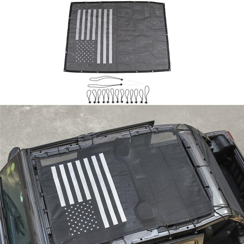 Pour Jeep Wrangler JL 2018 toit isolation Net protection solaire plafond maille capote 4 portes pare-soleil couverture voiture accessoires extérieurs