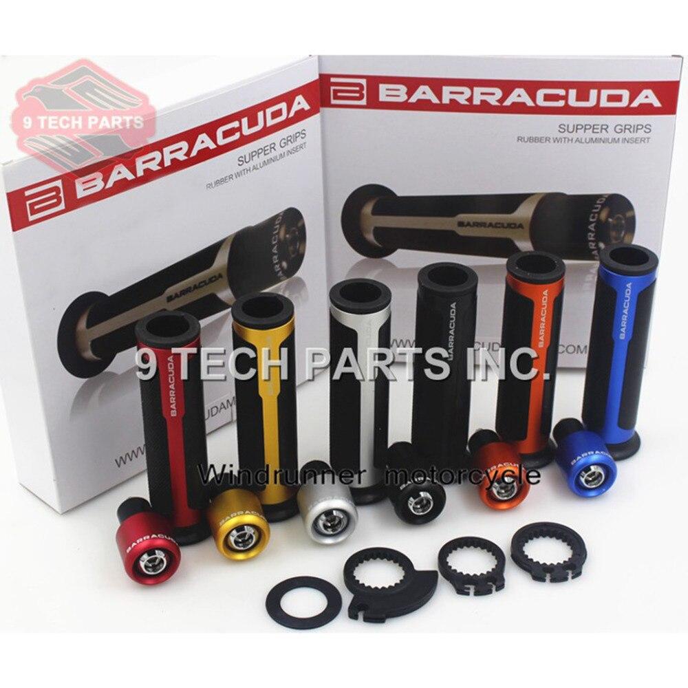 BARRACUDA Kit de poignées/poignées de guidon de Moto CNC universelles pour toutes les poignées de Moto de 7/8 ''22mm avec extrémité