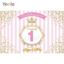Yeele Happy 1st Birthday Our little Princess Golden Border Scene Photography Background Photographic Backdrop For Photo Studio