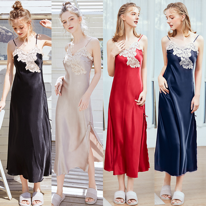 Ladies Women Oversize Long Nightdress Silk Lace Satin Sexy Lingerie   Nightgown   Sleepwear   Sleepshirts