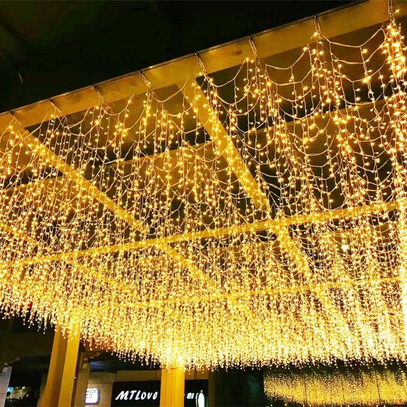 Holiday Light 0.6M 0.8M 2M 1.5M 96/216/256/120LED Icicle String Lights 8 Mode LED Curtain Garland Christmas Fairy Light EU 220V
