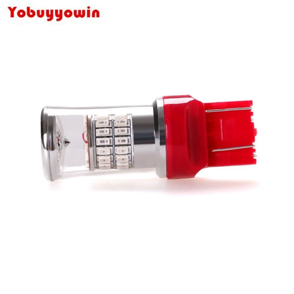 7443 W21/5 12V 24V Rouge LED Ampoule de Voiture 48X3014SMD for Clignotant Feu de Freinage Lumissre de Stationnement Feu Arrissre