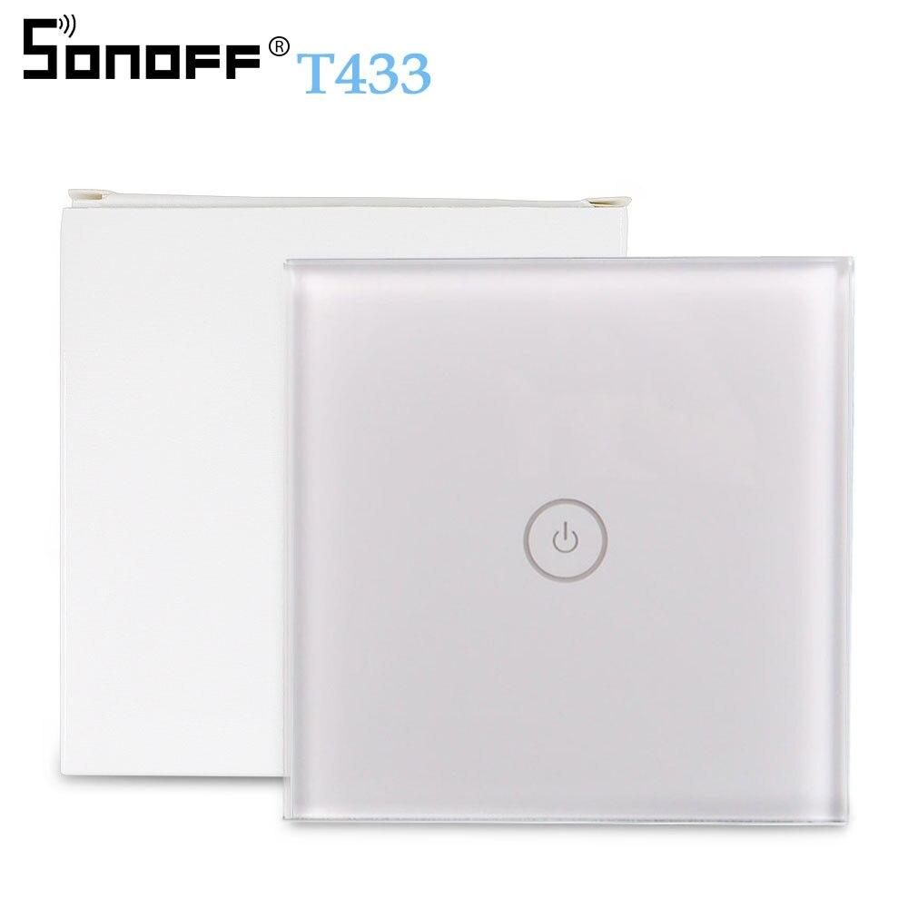 SONOFF T433 86 Type 433 mhz RF télécommande murale lumière LED panneau tactile en verre sans fil contrôleur intelligent travail avec commutateur T1 WiFi