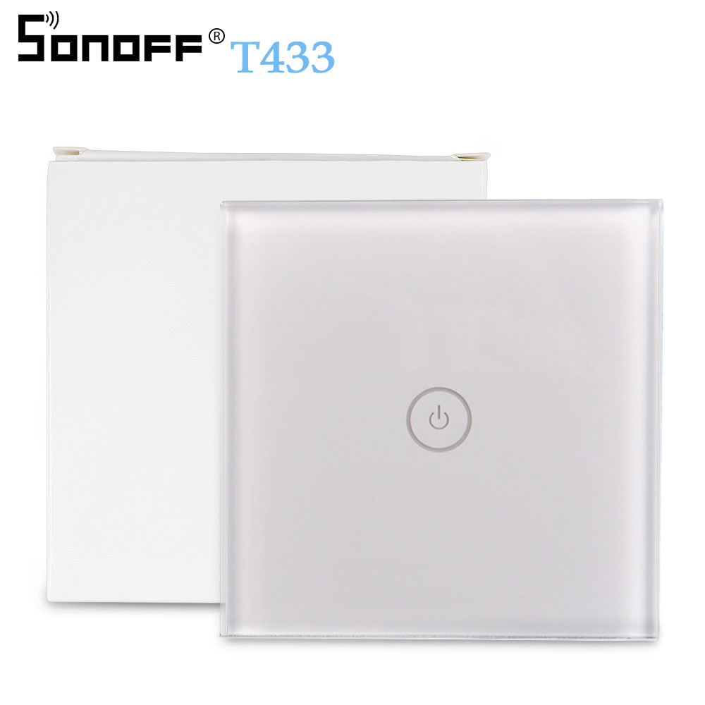 SONOFF T433 86 Type 433mhz RF Remote Wall Control LED Light Glass Touch Panel Wireless Smart Controller Work With T1 WiFi Switch
