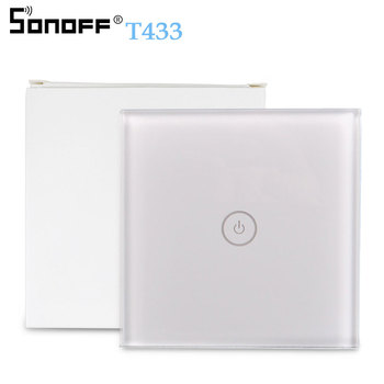 SONOFF T433 86 Type 433mhz RF Remote Wall Control LED Light Glass Touch Panel Wireless Smart Controller Work With T2 WiFi Switch vhome led light touch switch rf glass panel smart remote control switch eu type 220v for smart home light led sensor switches