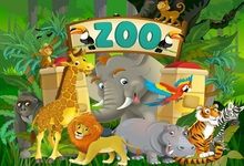 Laeacco Jungle Party Cartoon Animals Rhinoceros Elephant Bird Baby Background Customized Photographic Backdrops For Photo Studio