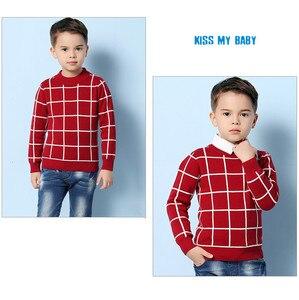 Image 3 - Niebieski Casual Plaid berbeć chłopcy swetry swetry czarna bawełniana szydełkowa odzież dziecięca zielona wiosenna dzianina dziecięca jesień