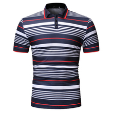 YASUGUOJI New 2019 Summer Short Sleeve Polo Shirt Men Casual Striped Male Shirts Fashion Contrast Color