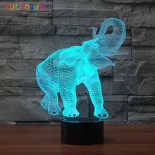 3D USB Lights Elephant LED Table Lamp 7 Color Change Touch Control Bedroom Decorative Nightlights