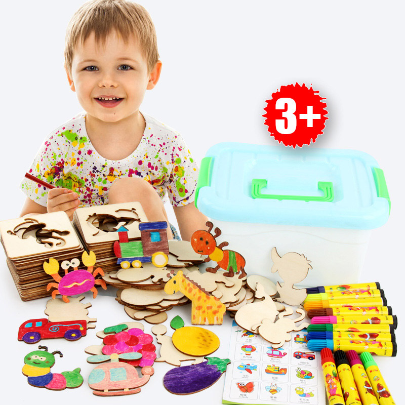 48pcs Baby Board School Paint Tool Educational Coloring Book Paint Learning Coloring Board Drawing Board Wooden Drawing Toy Gift