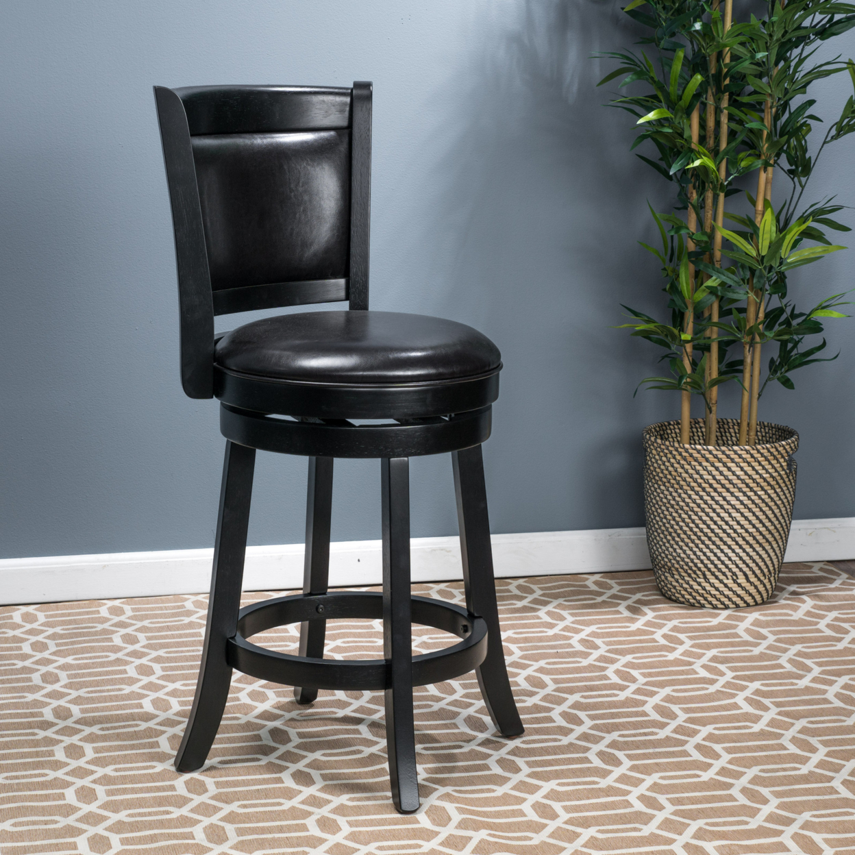 Davis Black Bonded Leather Swivel Backed Counter Stool catina counter stool charcoal