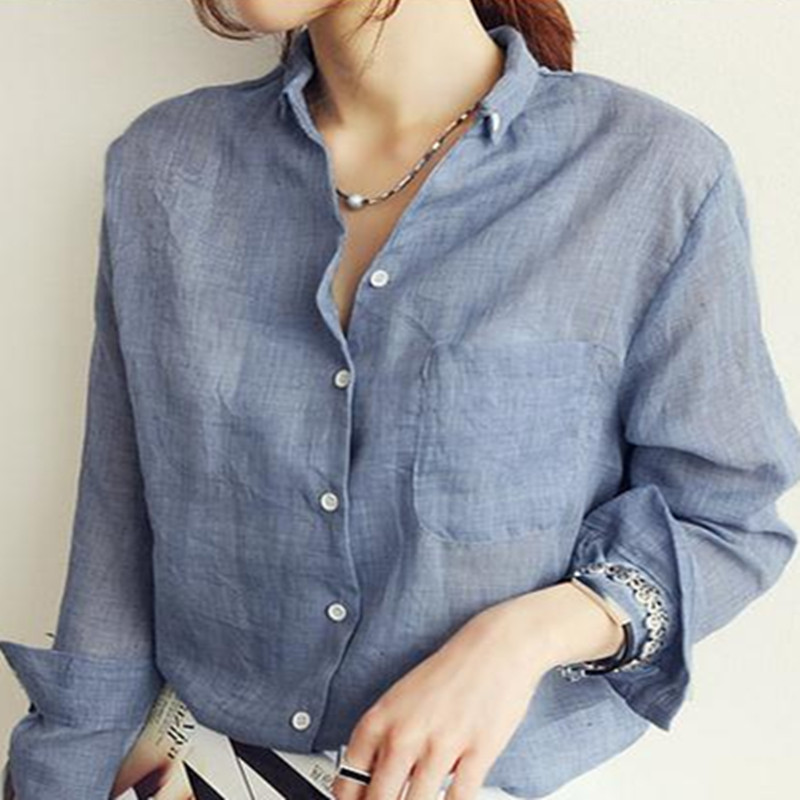 Blusas Chemise Femme Long Sleeve Shirt Womens