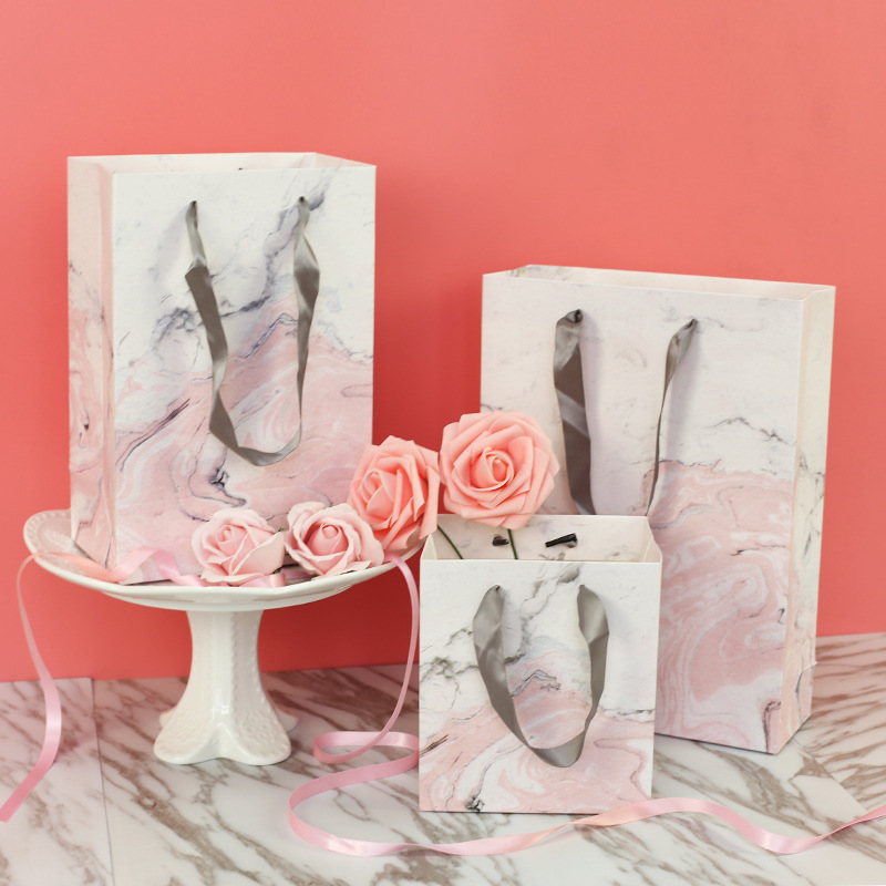 Creative Marble <font><b>Paper</b></font> Bag Cake Packing bag Moon Cake Gift Bags Event Party Supplies Luxury <font><b>Kraft</b></font> <font><b>Paper</b></font> Gift <font><b>Box</b></font> <font><b>With</b></font> <font><b>Handles</b></font> image
