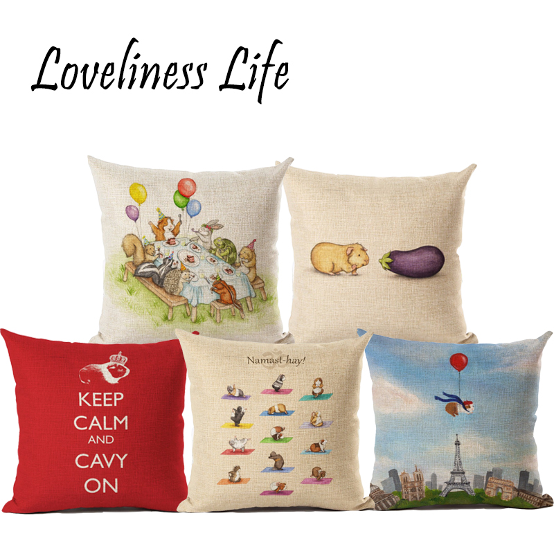 Guinea Pig Cushion Cover Yoga Show Lovely Pet Beige Pillow Cover New Style Pillow Case Thin Linen Cotton Bedroom Sofa Decoration