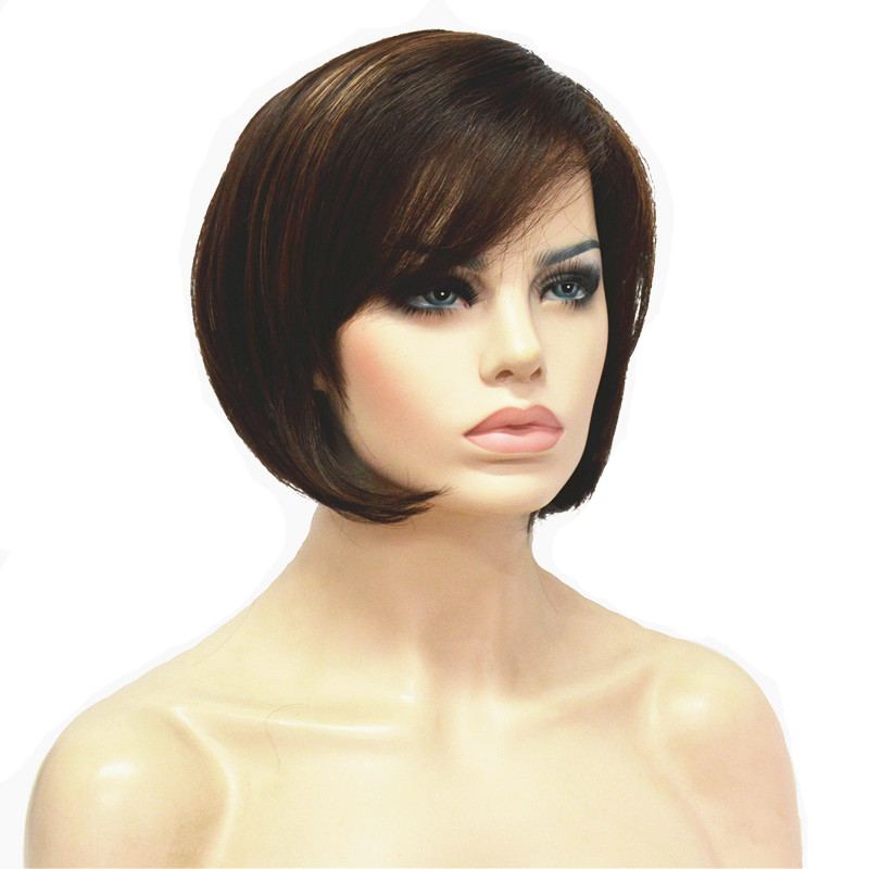 StrongBeauty Women's Bob Style Short Straight Hair Wig Brown With Blonde Highlights Synthetic Natural Full Wigs