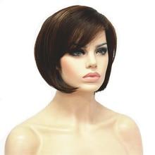 StrongBeauty 女性のボブスタイルショートストレートヘアのかつらブラウンブロンドのハイライトと合成天然フルウィッグ