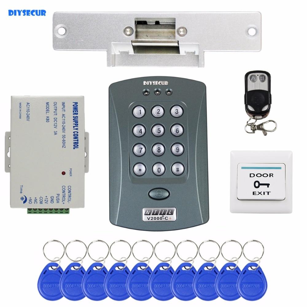 DIYSECUR Remote Control ID Card Reader Password Keypad Access Control System Security Kit + Strike Lock V2000-C