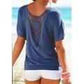 Blusas de Renda Das Mulheres Verão de Manga Curta plus size Blusa Casual sólidos Tops Shirt vetement femme verão blusa feminino Respirável