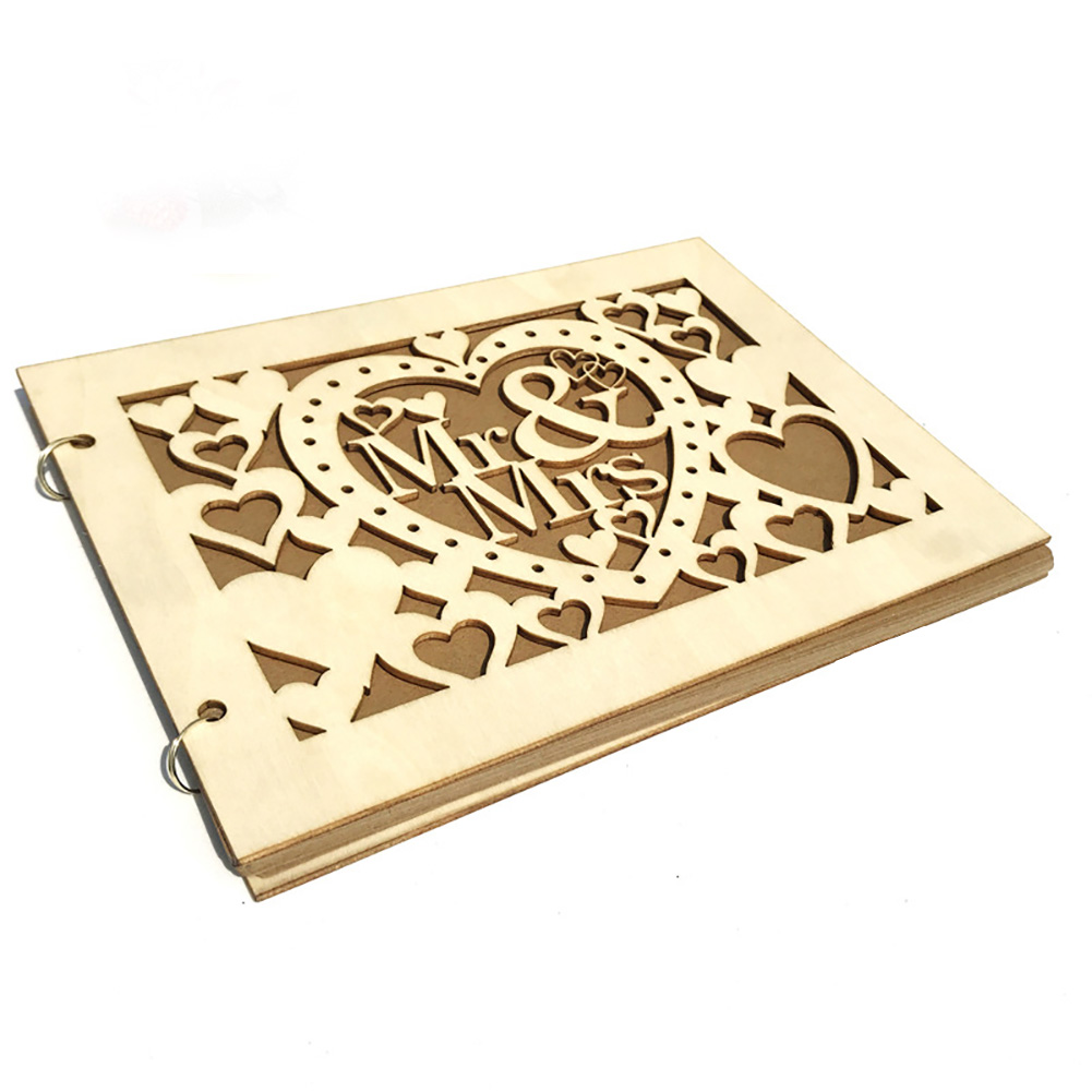 Signature Book Table Party Supplies Wooden 20 Pages Decoration Hollowed Wedding Guest DIY Photo Event Gift MR MRS Letters(China)