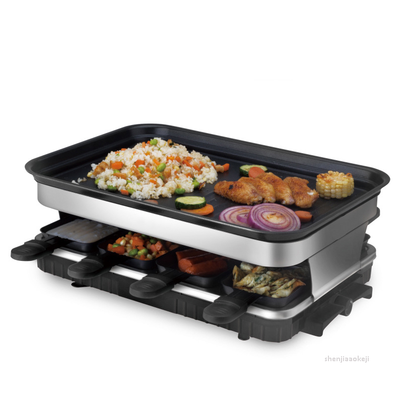 Smokeless Electric Grill Commercial Non-stick Baking Pan BBQ Stove Cooking Machine Multifunction Grilled Fish Pot  220v 1500w