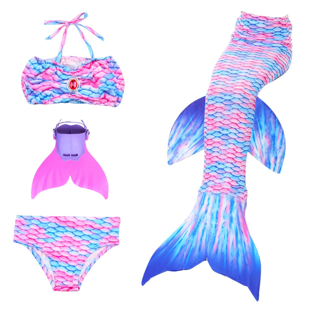 2018 Children Girls Swimming Mermaid Tails Cosplay Costume Little Mermaid Tail with Fin for Child Kids Swimsuit Dress for Party