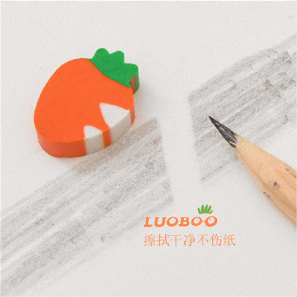 5 Pcs/pack Lovely Mini Vegetable Carrot Rubber Pencil Erasers Primary Student Prizes Gift Stationery Erasers
