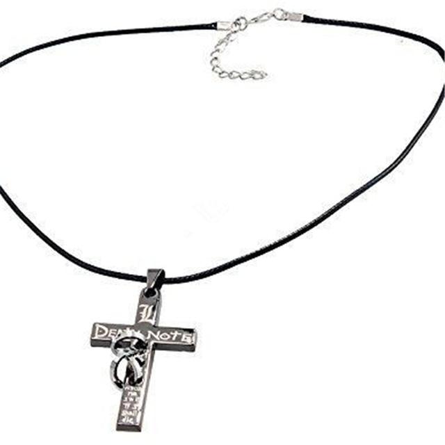 Anime Death Note Letter L Cross Metal Pendant Necklace