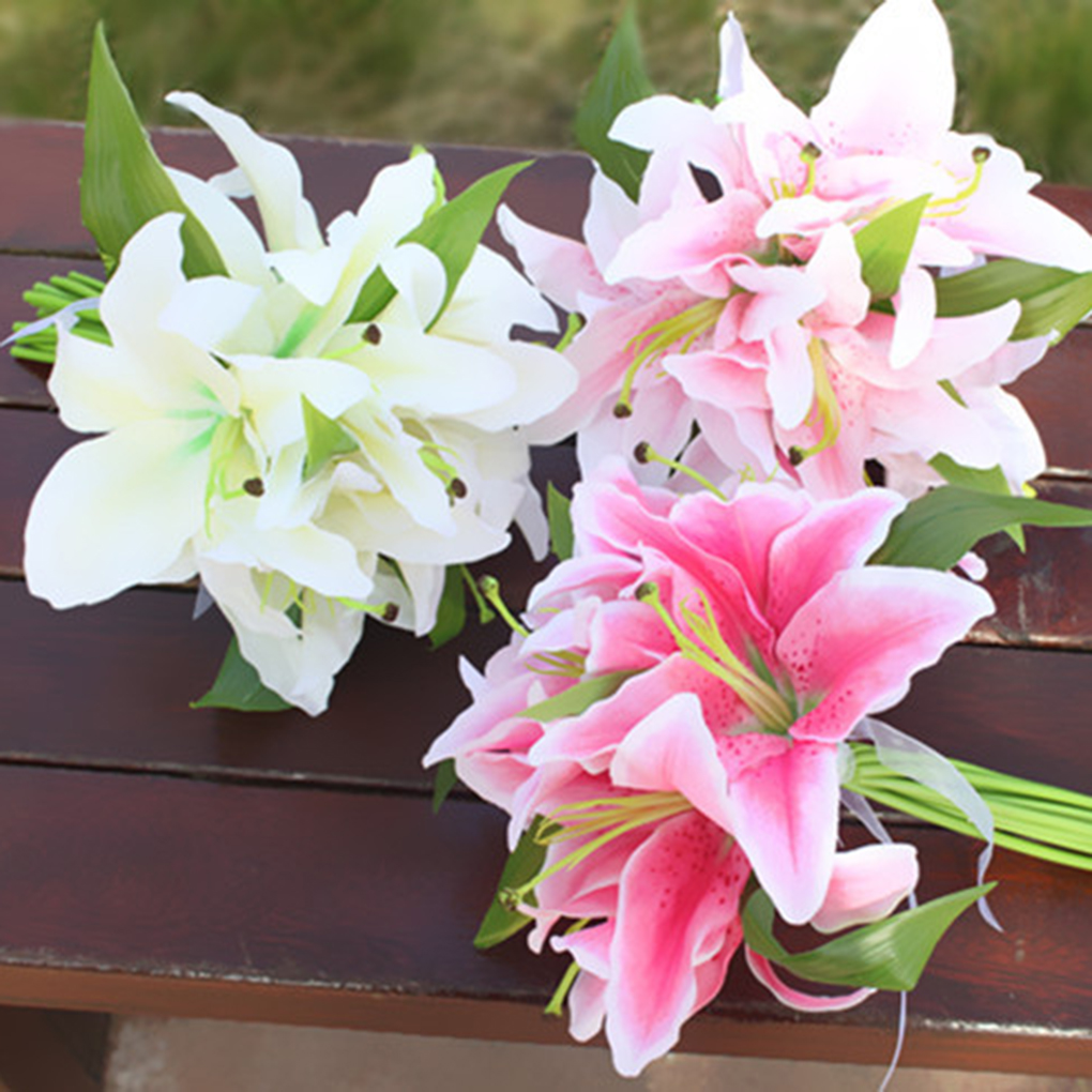 Literature and art Wedding Bridal Holding Bouquet Home Garden Artificial Lily Flowers Bouquets