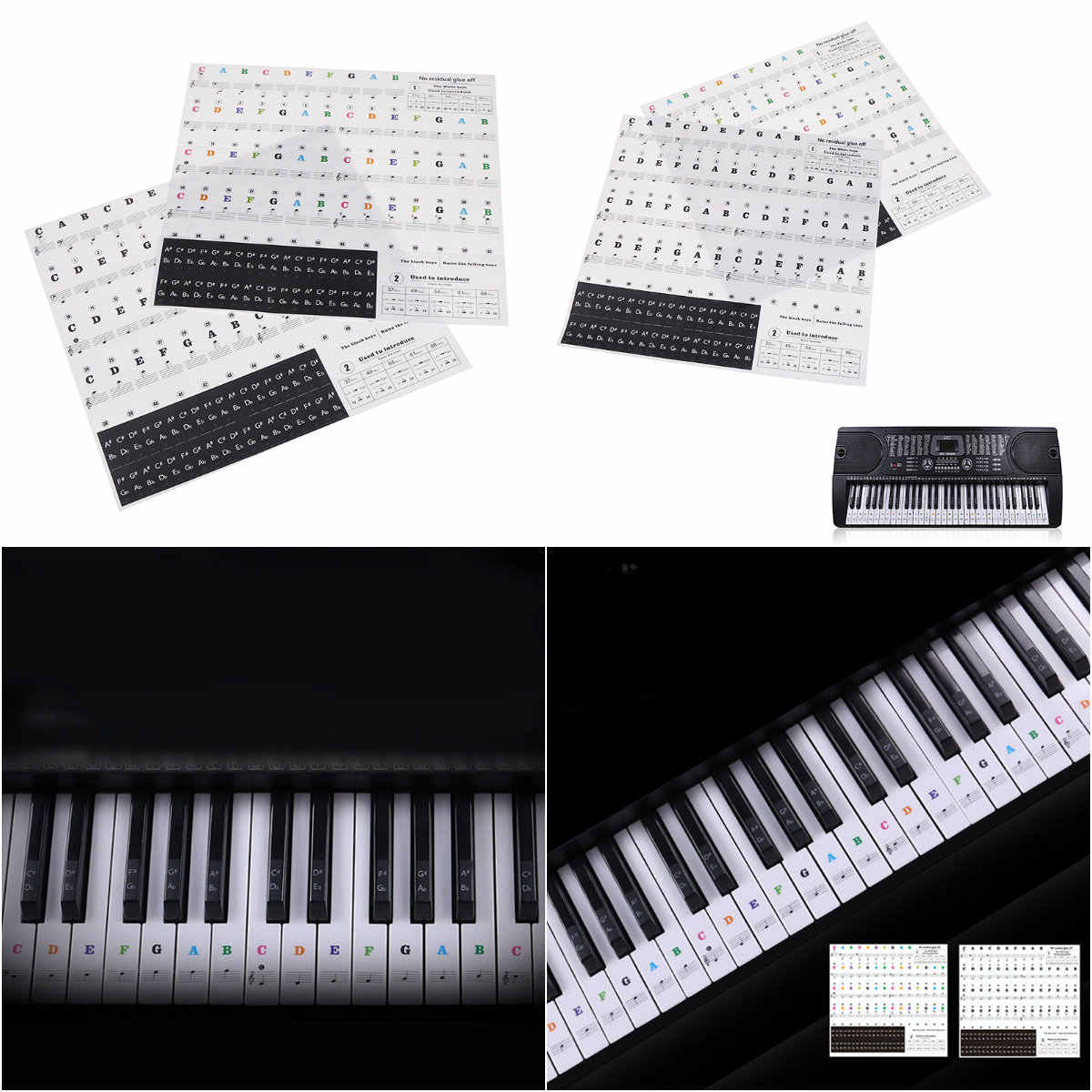 54 61 88 Keys Electronic Piano Keyboard Sound Name Stickers Key Sticker JRSPF
