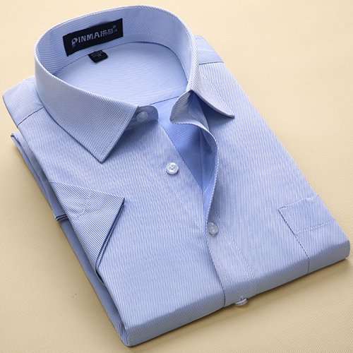 Summer Men's Short-sleeve White Basic Dress Shirt with Single Chest Pocket Standard-fit Business Formal Solid/twill/plain Shirts 9