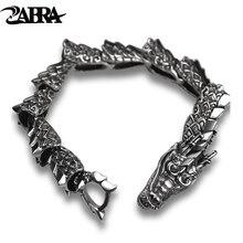 ZABRA Luxury Pure 925 Sterling Silver Dragon Bracelet Men Vintage Punk Rock Biker Mens Bracelets 2017 Man Silver 925 Jewelry
