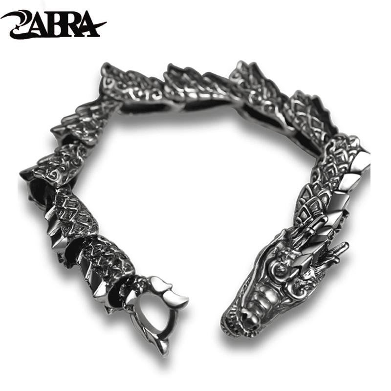 ZABRA Luxury Pure 925 Sterling Silver Dragon Bracelet Men Vintage Punk Rock Biker Mens Bracelets 2017 Man Silver 925 Jewelry trustylan cool stainless steel dragon grain bracelets men new arrival punk rock keel mens bracelets