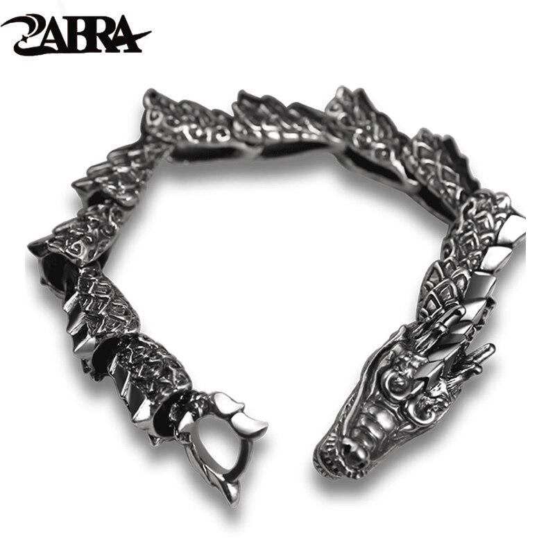 ZABRA luxe pur 925 Bracelet en argent Sterling Dragon hommes Vintage Punk Rock Biker hommes Bracelets 2017 homme argent 925 bijoux