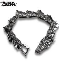 Zabra роскошь Чистая стерлингового серебра 925 дракон браслет Для мужчин Винтаж Punk Rock Байкер Для мужчин S Браслеты 2017 человек серебро 925 ювелирн
