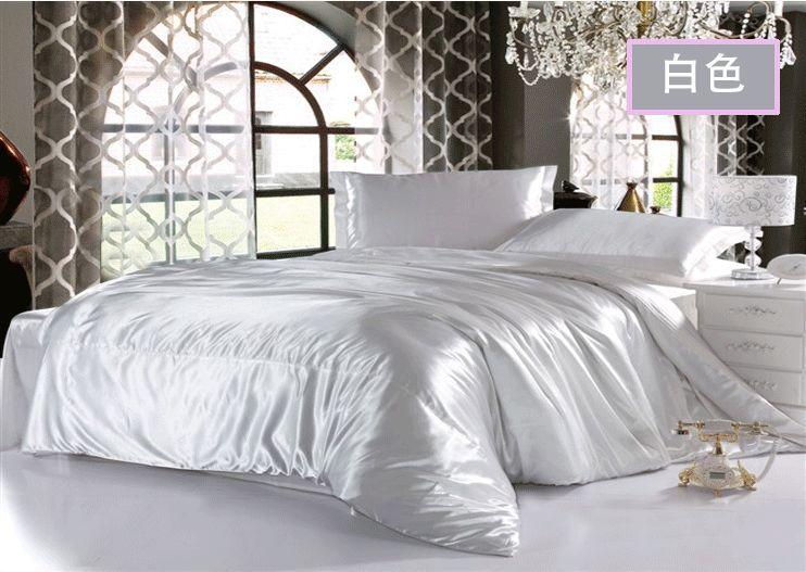 White Bedding Set King Queen Size Romantic Silk Satin