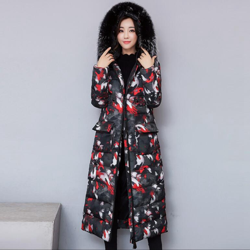 2017 New winter extra long jacket women Thicken coat female outerwear Hooded Big Fur collar fashion Slim printing cotton parka