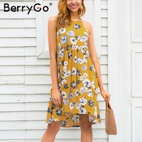 BerryGo Halter Floral Print Mini Dress Women Summer Style Hollow Out Boho Dress Spring Casual Beach