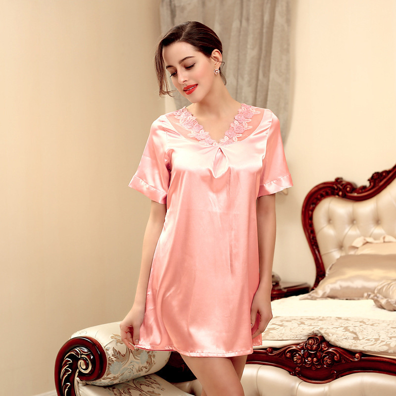 NG0186 Brand Women Pyjama Satin Silk Female Sleepwear Lady Sexy Lace Night Dress Short Sleeve Nighty Summer   Nightgown     Sleepshirt
