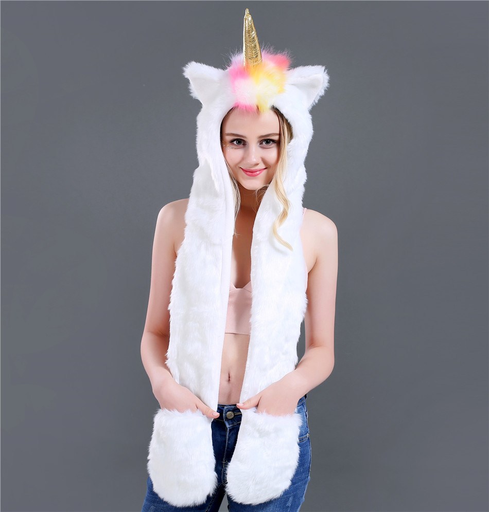 New Fashion Autumn And Winter Unicorn Three Pieces Set Faux Fur Hat Plush Cartoon Animal Hat Hat Scarf Gloves One SN51 (2)