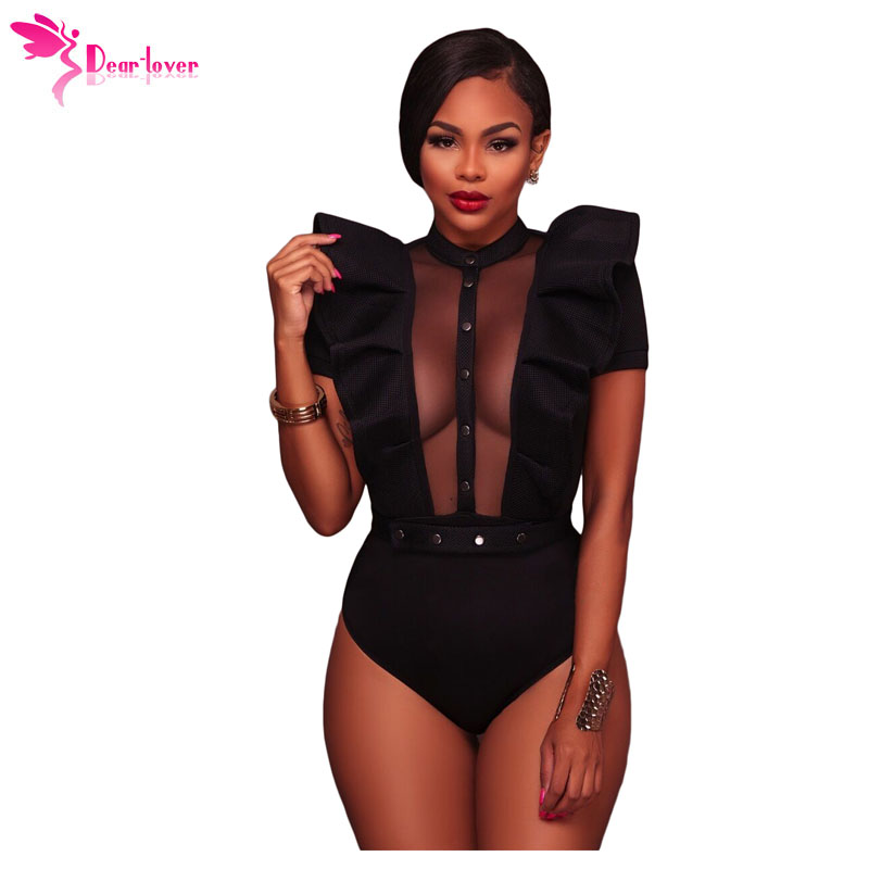 Dear Lover Womens Bodysuits Summer Red Black Ruffle Buttoned Short Sleeve Bodice Rompers New Skinny Combinaison Femme LC32219