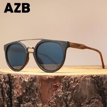 a6060eac88 AZB gafas de sol de madera lente polarizada UV400 Vintage para hombre gafas  de sol de madera gafas de mujeres, gafas de sol para hombres