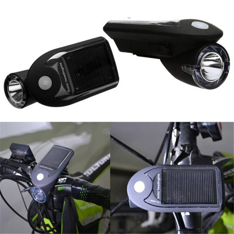 B2 Rechargeable New 1 LED Bicycle Cycling Solar Headlight Front Head Light Bicycle Light Hiking Camping Hunting Durable