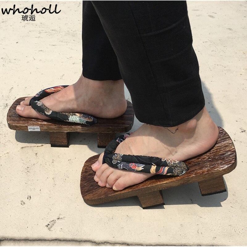 fbb7aaddeb7 WHOHOLL Geta sandalias de verano hombre chanclas dos dientes Platofrm  japonés zuecos de madera zapatos de los hombres de sandalias Plus tamaño 34  47 en ...