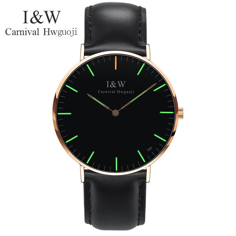 Carnival Green Tritium Light Watch Men Quartz Ultrathin Dail Tritium Luminous Waterproof Black Leather Watches carnival new fashion casual tritium luminous watch women ultrathin quartz watches top brand luxury waterproof relogio feminino