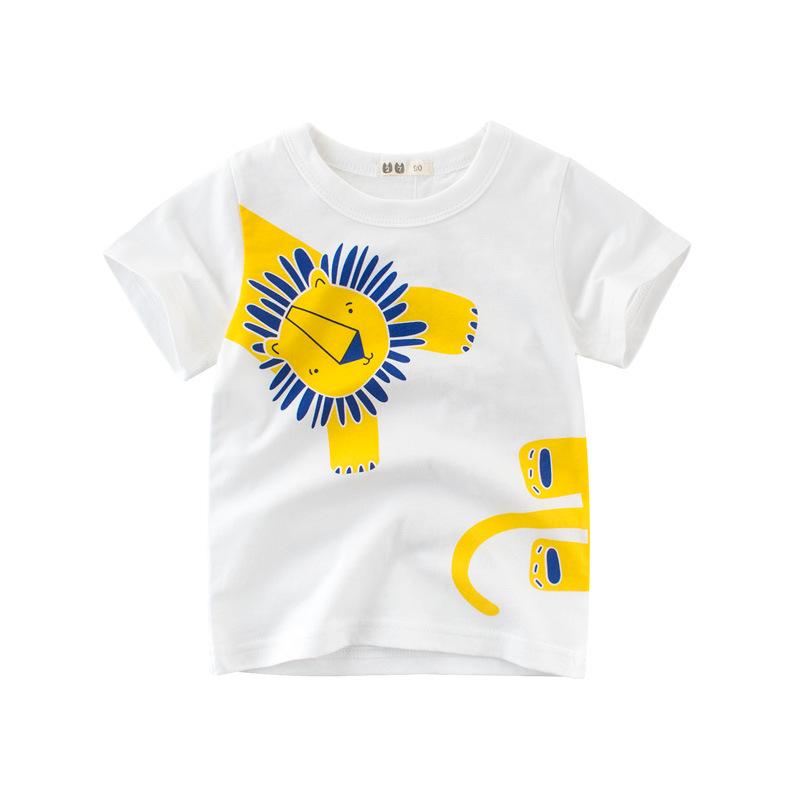 5487305a Fashion Summer Children Boy T-shirt Animal Print Short Sleeve Tee Shirts  Kids Elephant Lion Giraffe Fashion Casual Tops Clothes