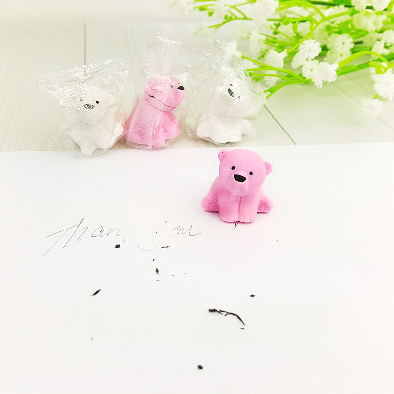 1X Cute Cartoon Eraser Lovely Polar Bear Modelling Eraser Children Stationery Gift Prizes  Kawaii School Supplies Papelaria