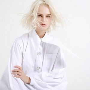 Image 2 - [EAM] 2020 New Spring Summer  Lapel Long Lantern sleeve Nailed Temperament Large Size Brief Shirt Women Blouse Fashion JH362